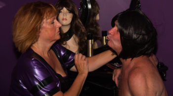 Feminisation: Image shows County Durham domme Mistress Orchid with a male cross dresser
